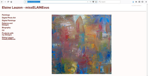 A screen capture of Elaine Lauzon's art website