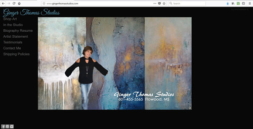 The front page of Ginger Thomas' art website