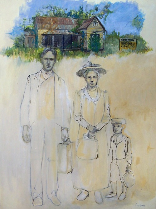 A painting of a family in front of a partially-colored landscape
