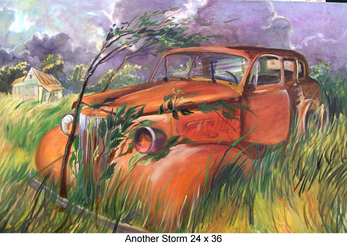 A painting of an abandoned car in a field