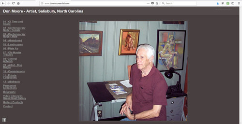 A screen capture of the front page of Don Moore's artist website