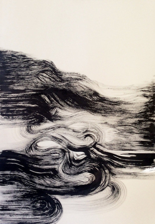 An ink painting with thick black and white lines