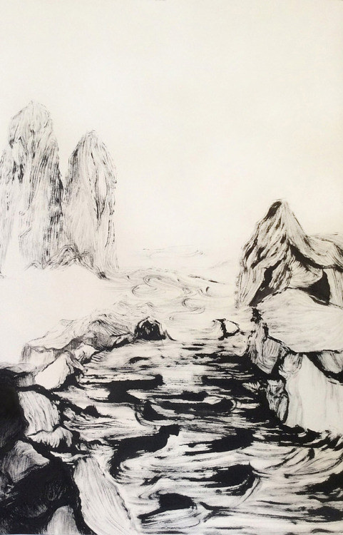 An ink drawing of a stream running through mountains
