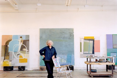 A photo of Amy Sillman in her art studio