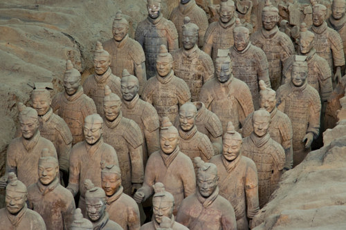 A photo of Chinese terracotta warriors at their excavation site