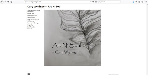 The front page of Cary Wininger's art website