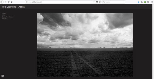 A screen capture of Ted Diamond's photography website