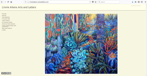 The front page of Linnie Aikens' art website