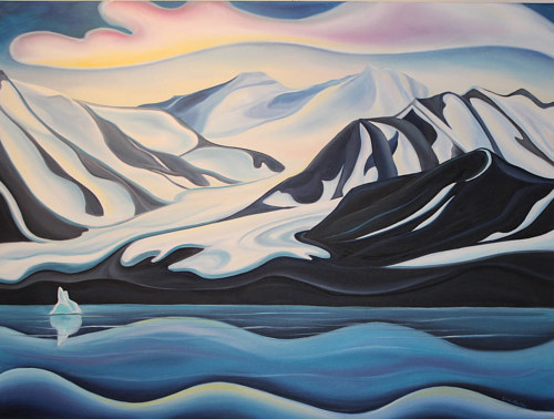 An oil painting of an arctic glacier
