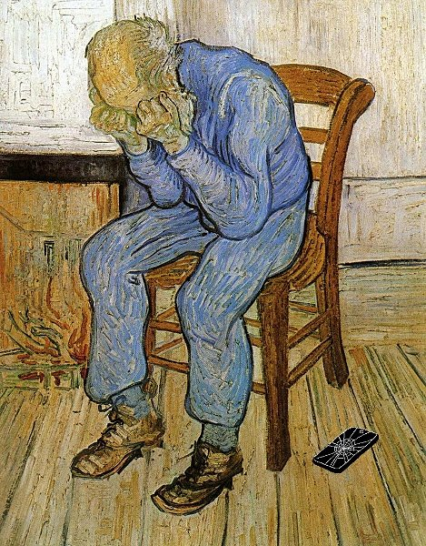 Illustration of man holding his head and sitting on chair with broken cell phone on the floor