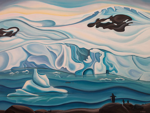 A painting of an iceberg breaking