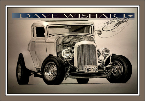 A drawing of a famous antique car