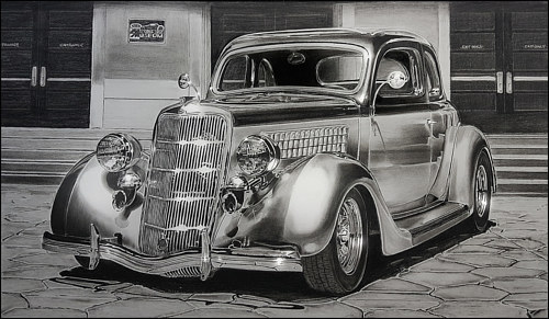 A drawing of a 1935 Ford