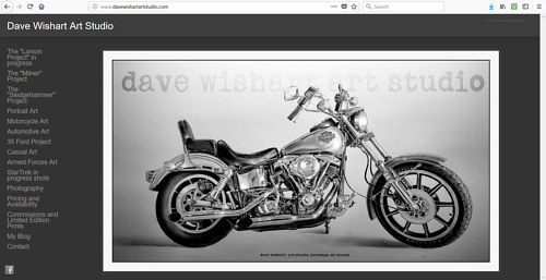A screen capture of Dave Wishart's art website