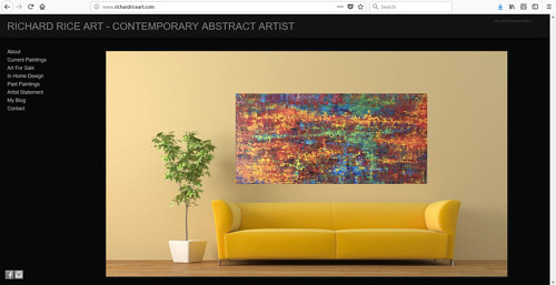 An image of a Richard Rice painting above a sofa