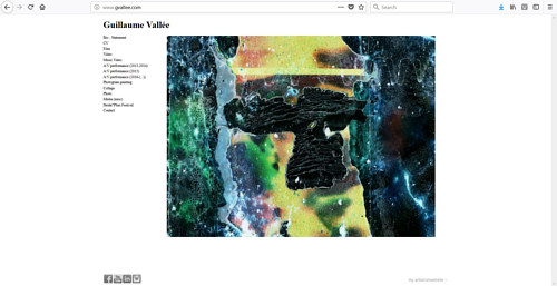 The front page of Guillaume Vallee's art website