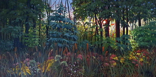 A painting of sunlight breaking through lush foliage