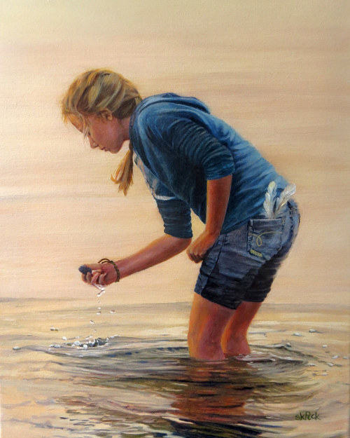 A painting of a young girl picking up a shell from water