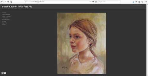 A screen capture of Susan Kathryn Peck's art website