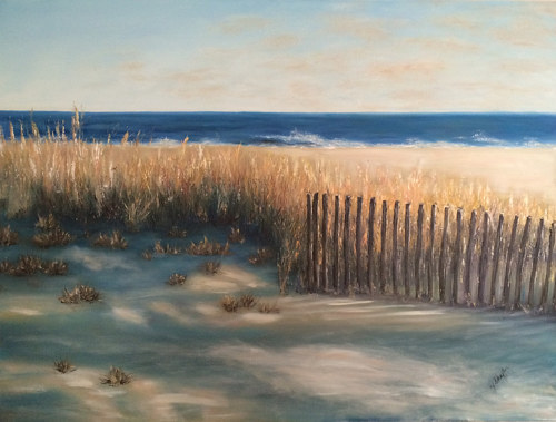 A painting of shadows on a sandy beach