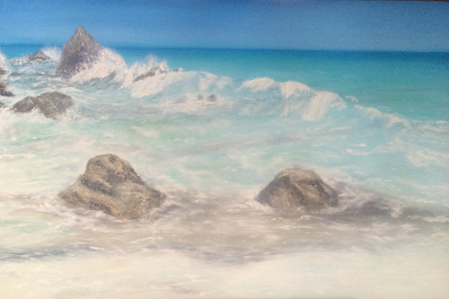 A painting of waves breaking over a tropical shore