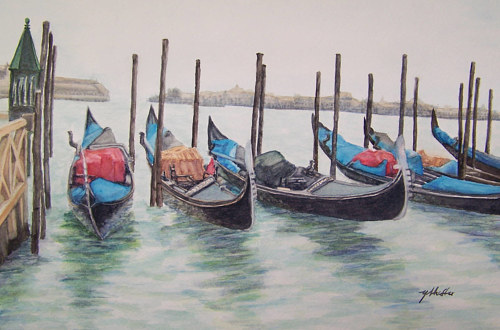 A watercolor painting of some docked boats