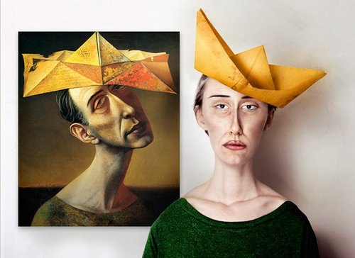 Image of man and woman with paper hats