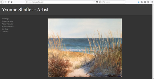 The front page of Yvonne Shaffer's art website