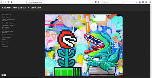 The front page of Amber Petersen's art website