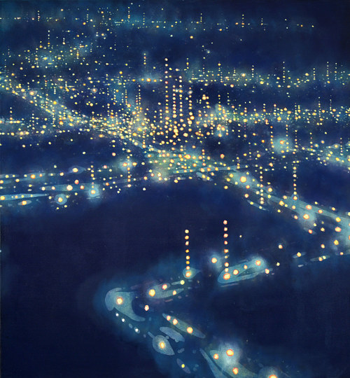 A painting of city lights on a dark blue background