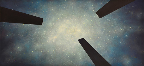 A painting of a star field with dark shapes in the foreground