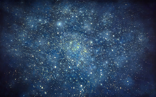 A painting of a star field in space
