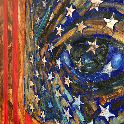A detail of a painting featuring American flag imagery
