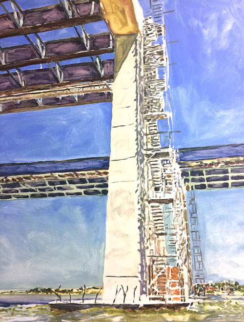 An oil painting of an industrial scaffolding