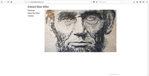 The front page of Edward Bear Miller's art website