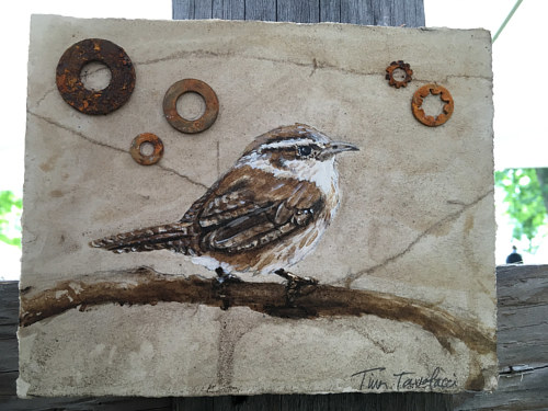 A painting of a small bird on earth-toned paper