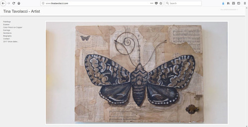 A screen capture of Tina Tavolacci's art website