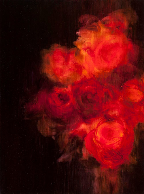 A painting of bright red roses on a dark background