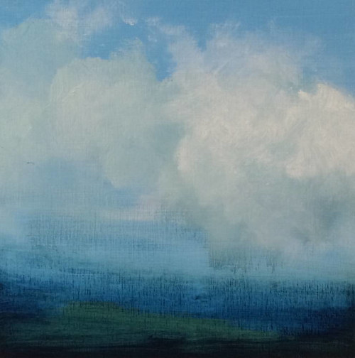 A painting of a cloud against blue sky