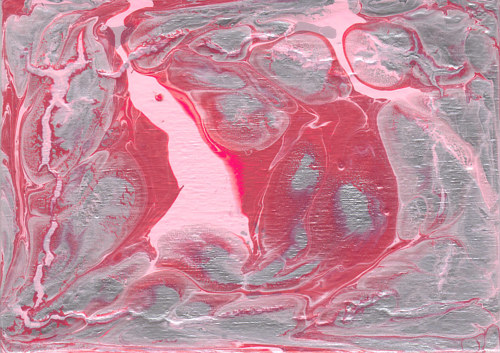 An abstract painting made in pink and white hues