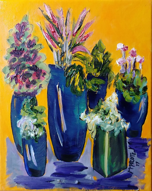 A painting of several potted plants