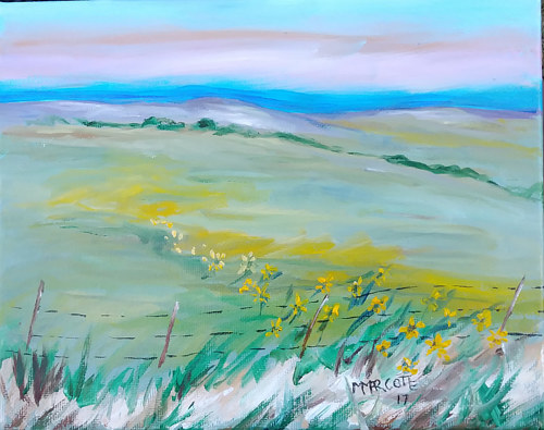 A painting of a meadow under a blue sky
