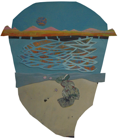 A collage based on the form of a shoreline