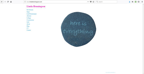 The front page of Linda Henningson's art website