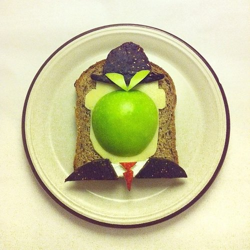 toast with cheese and apple as head of man