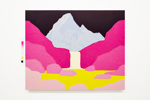 A painting of a mountain in pink and yellow