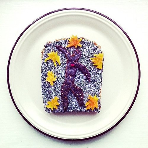 purple man with yellow stars on toast