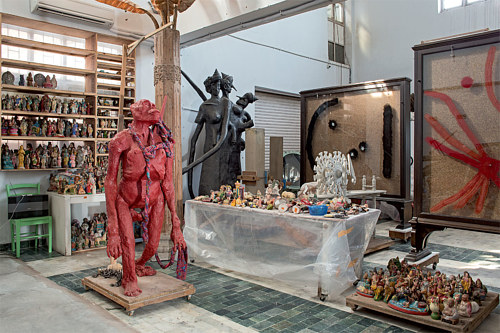 A photograph of Bharti Kher's art studio