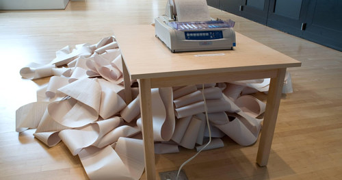 Hans Haacke's News installed at San Francisco MOMA