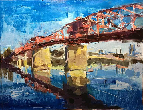 A loose painting of a bridge in Oregon